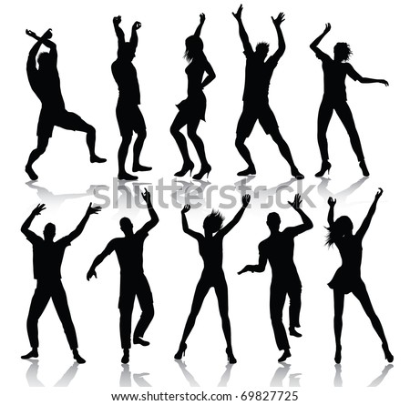 Dancing people silhouettes (also available jpeg version) - stock vector