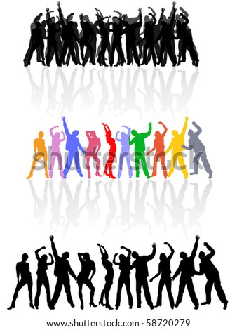 dancing people silhouettes - vector - stock vector
