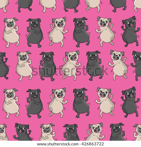 Dancing pugs. Seamless vector pattern with funny dogs. - stock vector