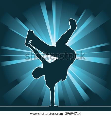 dancing silhouette, breakdance, vector illustration - stock vector