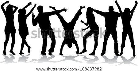 Dancing silhouettes - large collection - stock vector