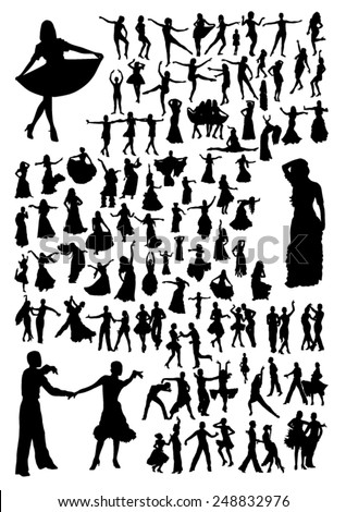 Dancing silhouettes set - stock vector