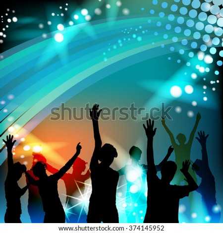Dancing silhouettes with disco lights - stock vector