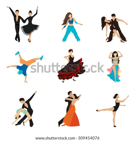 Dancing styles flat icons set. Partner dance waltz, performer tango, woman and man. Vector illustration - stock vector