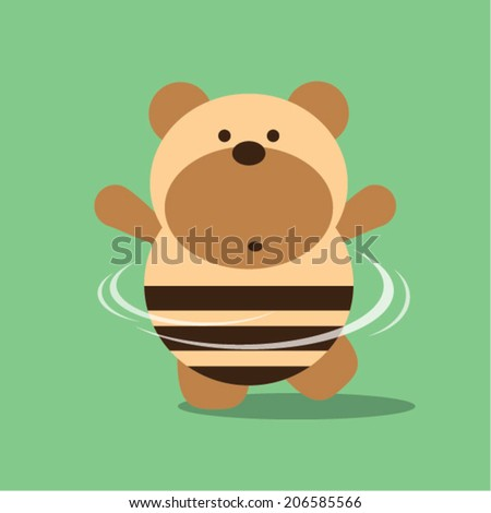 Dancing teddy bear - stock vector