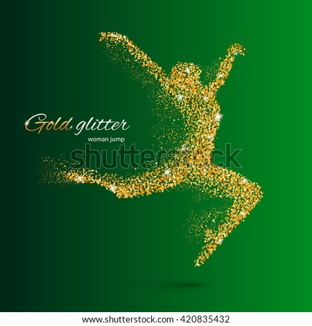 Dancing Woman in the Form of Gold Particles on Green - stock vector