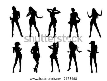 dancing woman siluettes - stock vector