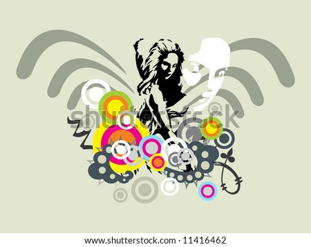dancing woman vector silhouette with grunge romance ornaments - stock vector
