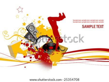 Dancing young men. Music concept. All elements and textures are individual objects. Vector images scale to any size. - stock vector