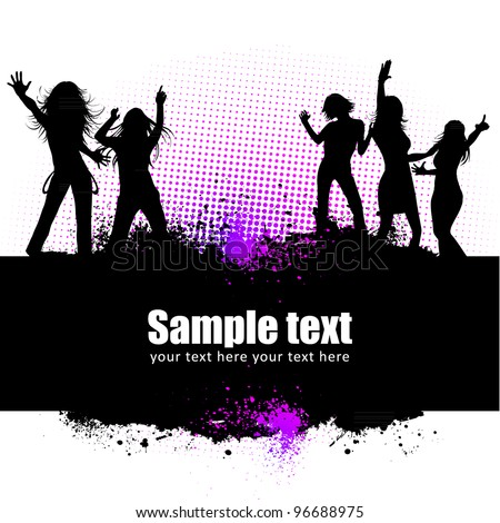 Dancing young people summer vector background text card - stock vector