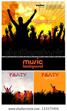 Dancing young people. Vector collection - stock vector
