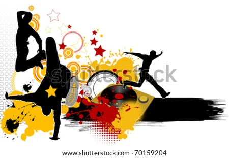 Dancing youth men. Music city. All elements and textures are individual objects. Vector illustration scale to any size. - stock vector