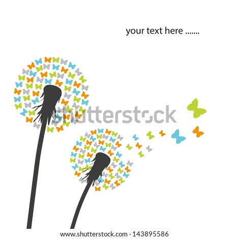 dandelion and butterfly - stock vector