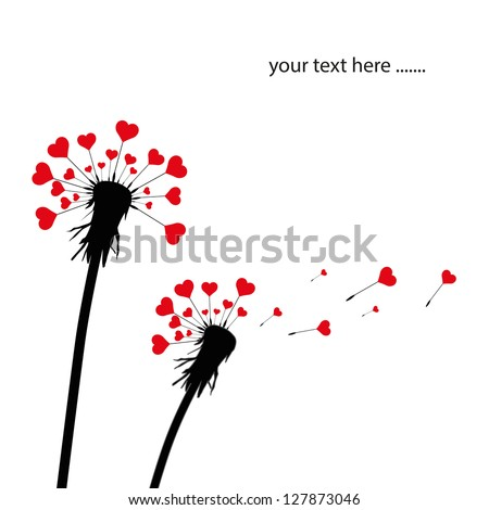 dandelion and heart shape seeds - stock vector