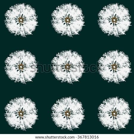 Dandelion back pattern pop-art green - stock vector