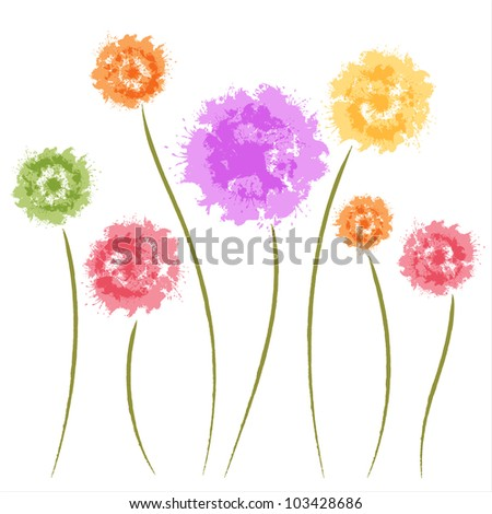 Dandelion flowers. Watercolor. Greeting card - stock vector
