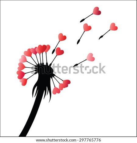 Dandelion heart seeds - stock vector