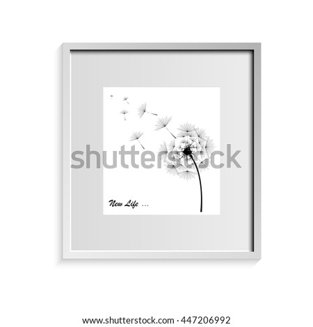 Dandelion in black with the inscription on a white background in a frame - stock vector
