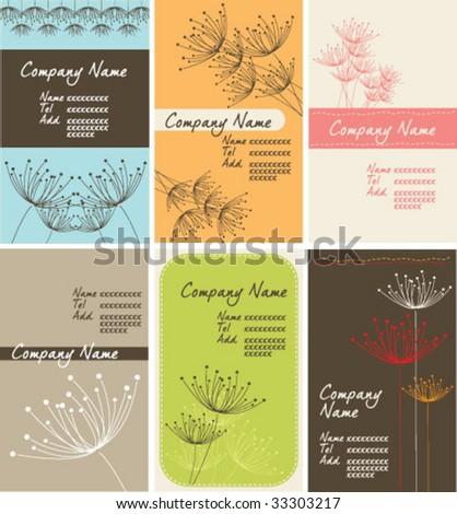dandelion name-card set - stock vector