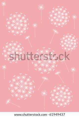 dandelion pattern pink - stock vector
