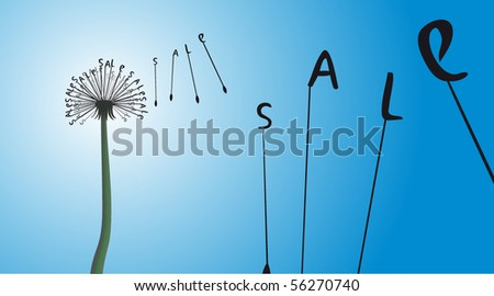 Dandelion sale - stock vector