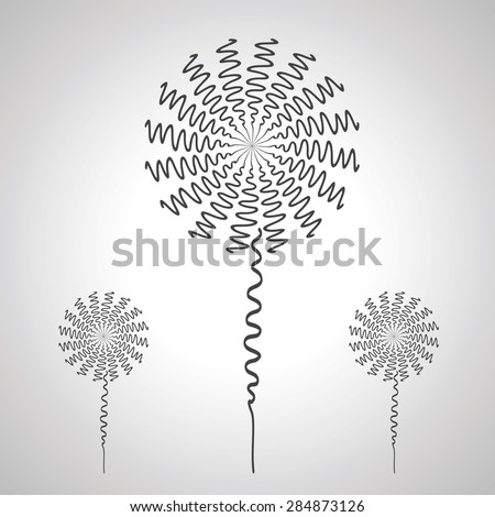 Dandelion set windmill wind motor freehand drawing. - stock vector