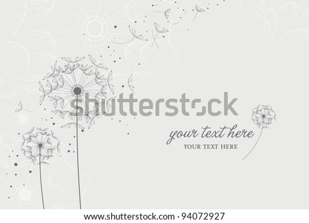 Dandelions in the Breeze - stock vector