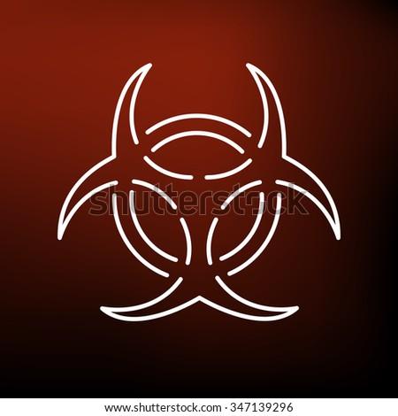Danger biohazard icon. Danger biohazard sign. Danger biohazard symbol. Thin line icon on red background. Vector illustration. - stock vector