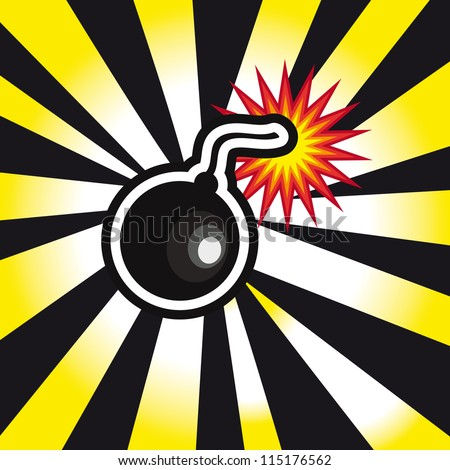 danger Bomb explosion in yellow and black background - stock vector