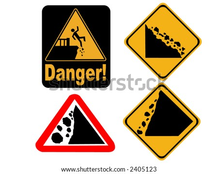 Danger cliff edge and falling rock signs - stock vector