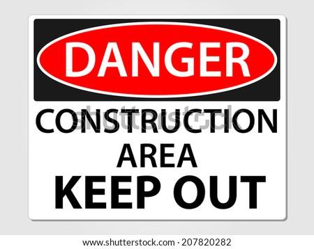 Danger construction sign vector illustration - stock vector