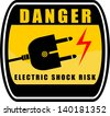 Danger Electric Shock Risk Sign - stock vector