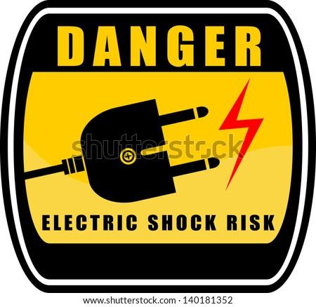 Danger Electric Shock Risk Sign - stock vector