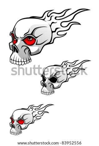 Danger evil skull with flames as a tattoo isolated on white. Rasterized version also available in gallery - stock vector