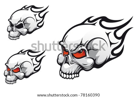 Danger evil skulls as a tattoo isolated on white. Jpeg version also available in gallery - stock vector