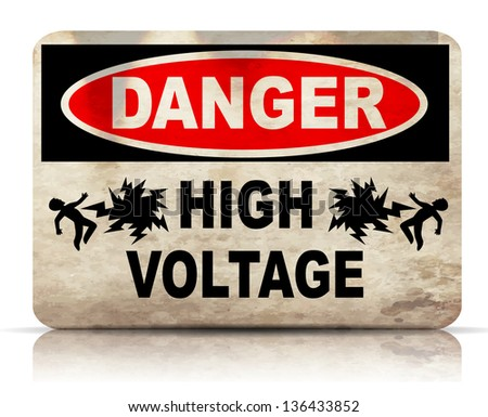 Danger High Voltage sign eps10 - stock vector