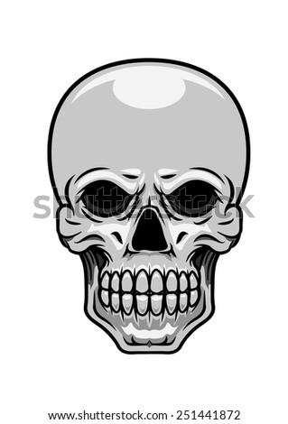 Danger human or monster skull for piracy, tattoo or halloween design - stock vector