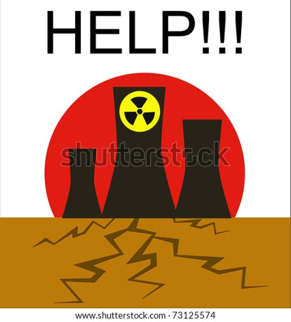 Danger of atomic power stations to the nature, Japan - stock vector
