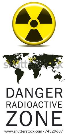 danger radioactive zone - stock vector
