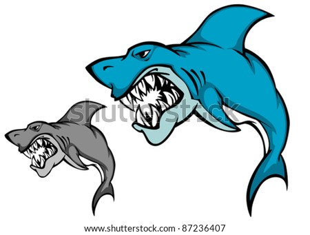 Danger shark with sharp tooth for mascot design in cartoon style, such a logo. Rasterized version also available in gallery - stock vector
