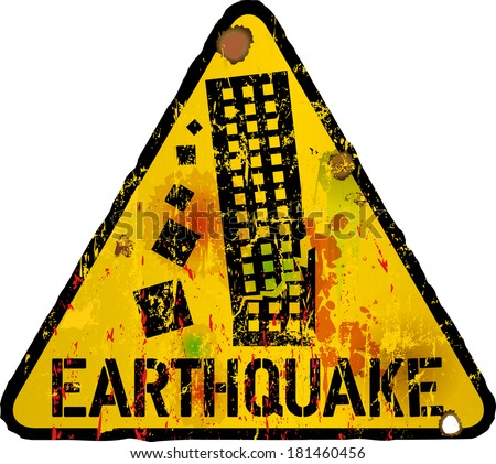 danger sign, earthquake warning sign, vector - stock vector
