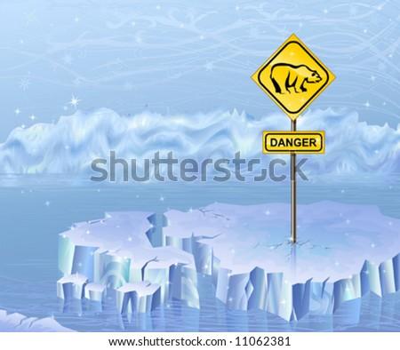 Danger sign warning of polar bears - stock vector