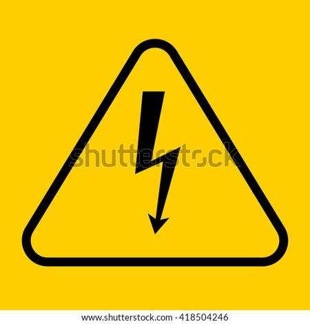 Danger sign with frame, vector illustration of high voltage symbol - stock vector