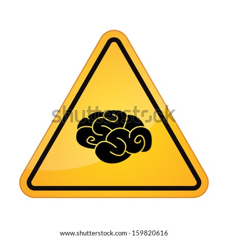 Danger signal with a brain icon - stock vector