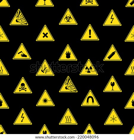 danger signs types seamless pattern eps10 - stock vector