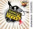 Danger! There are really powerful sound! - stock vector