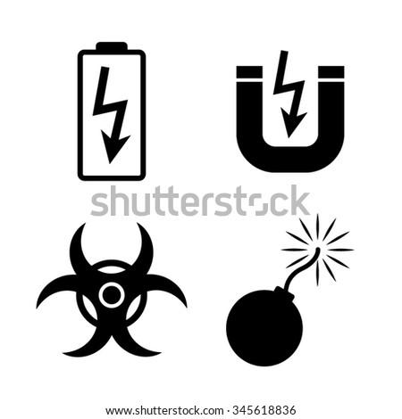 danger vector icon, set - stock vector