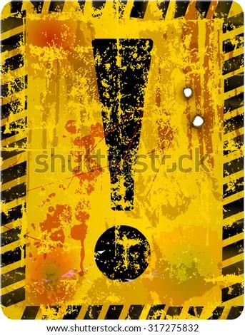 Danger warning sign w. exclamation mark, fictional artwork vector illustration - stock vector
