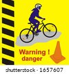 danger, works in progress - vector illustration symbolizing that bike riders should take caution because of the construction works - stock vector