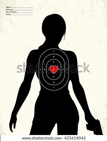 Dangerous armed woman - shooting range target - stock vector